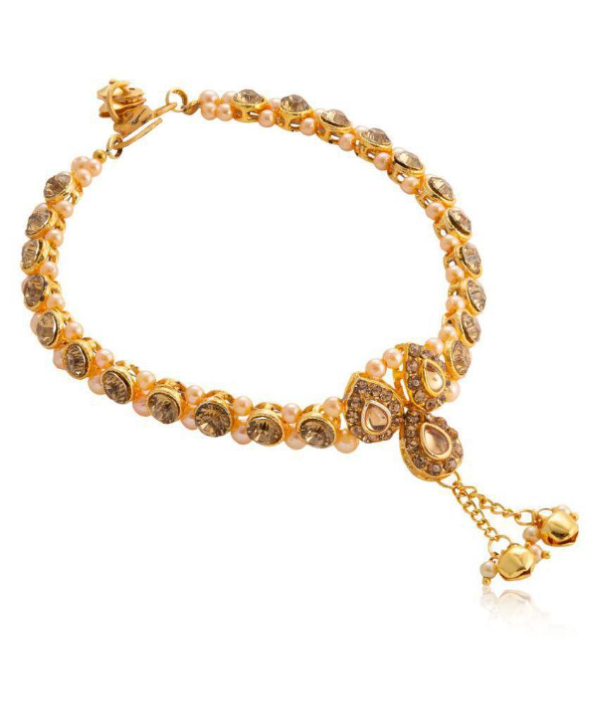 0f4975ad0dade8 Womensky Antique Traditional Kundan Pearls Stone Fancy Stylish Gold Plated  Payal/Anklet/Pajeb/ ...