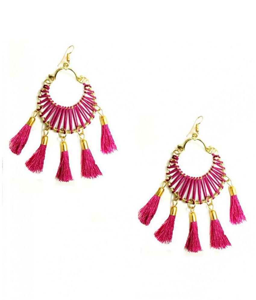 Turqueesa Round 5 Tassel Circle Hanging Style Tassel Earrings - Pink