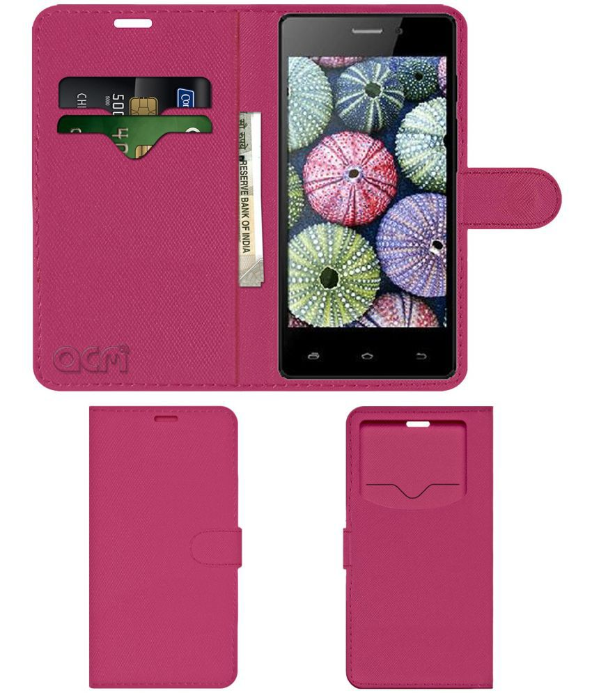 Spice Xlife 435Q Flip Cover by ACM - Pink Wallet Case,Can store 2 Card & 1 Cash Pockets