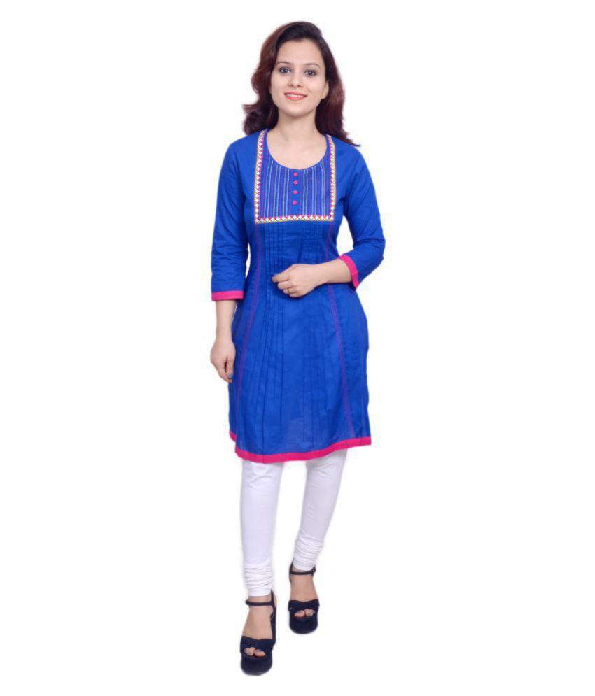 Yash Gallery Blue Cotton A-line Kurti