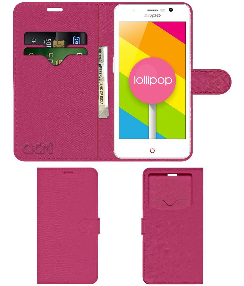 ZOPO COLOR C Flip Cover by ACM - Pink Wallet Case,Can store 2 Card & 1 Cash Pockets