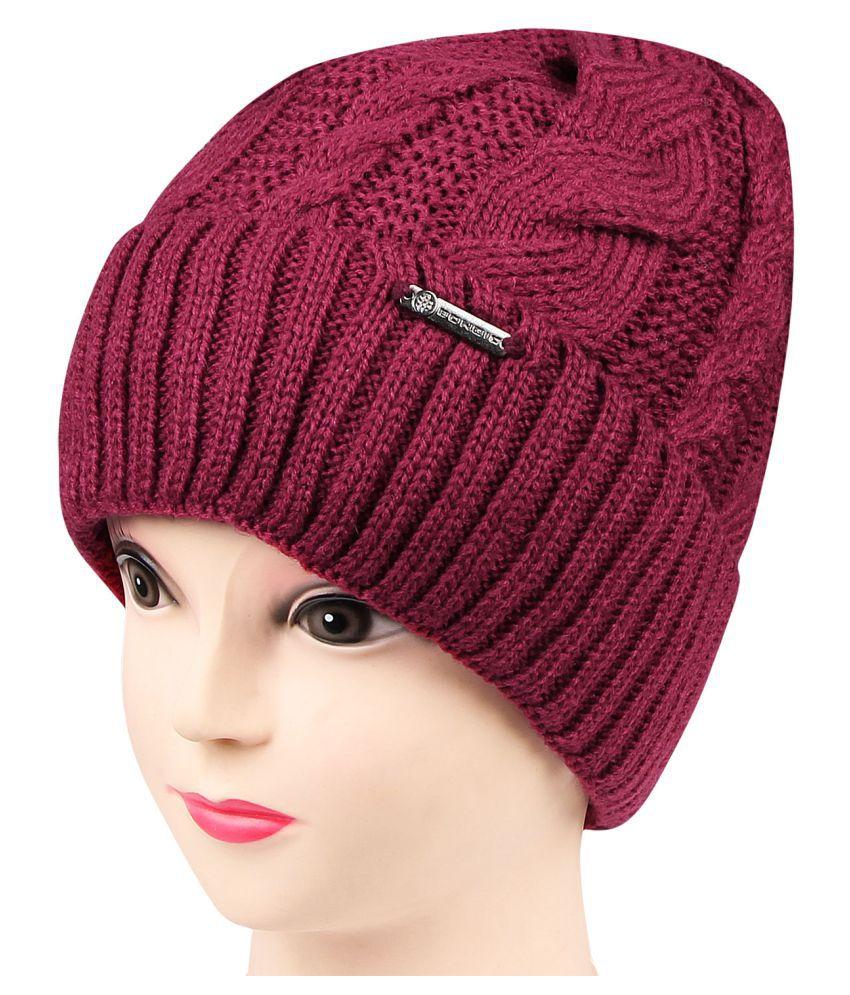 213c8ceebd8 Bongio women s Maroon Woolen cap  Buy Online at Low Price in India ...