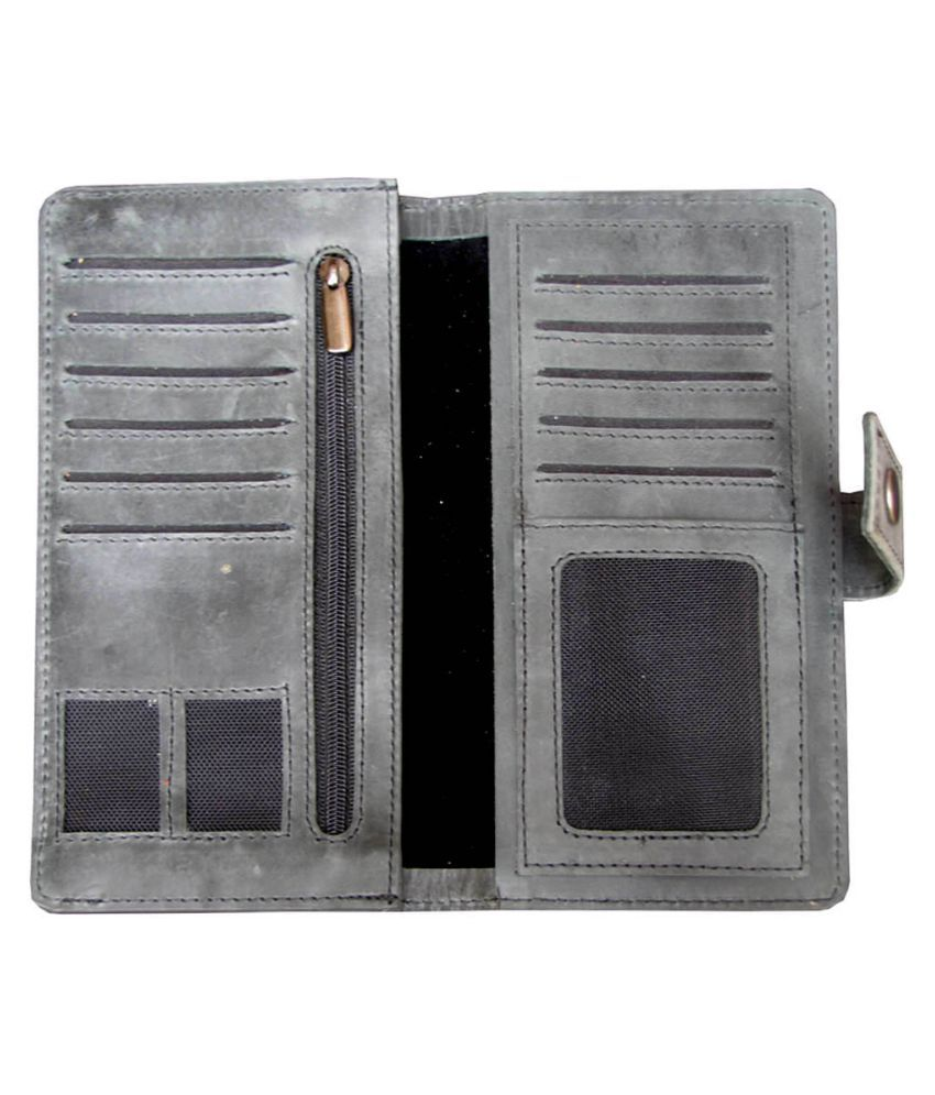 ABYS Gray Pure Leather Box Clutch