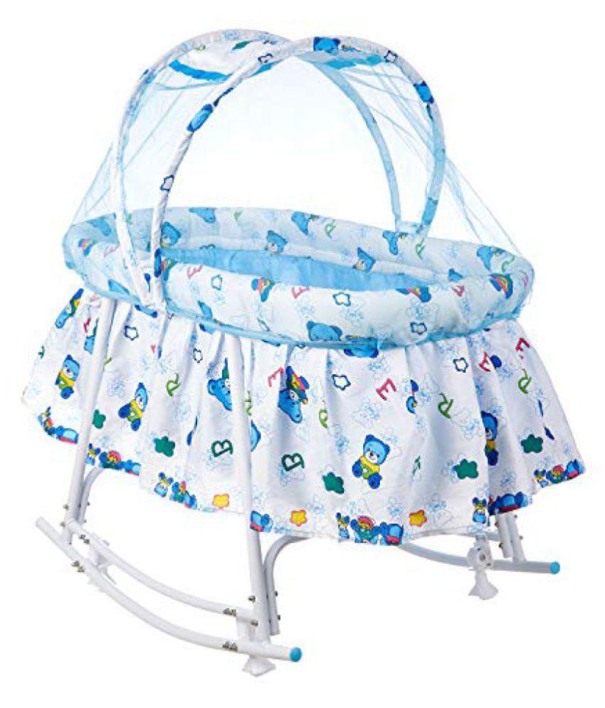 Fun Baby Cozy New Born Baby Cradle/Baby jhula/Baby palna/Crib / Bassinet with Mosquito Net and Rocking Base