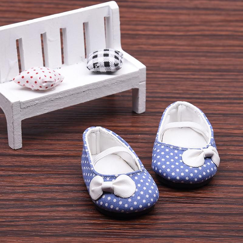 6671b9e361e2e 1 Pair White Bow Dot Small Shoes Fit for 18 Inch American Girl Doll ...
