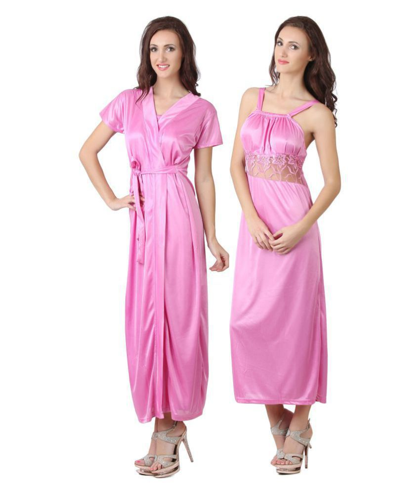 a8ad7f08a Buy Fasense Satin Nighty   Night Gowns - Pink Online at Best Prices in  India - Snapdeal