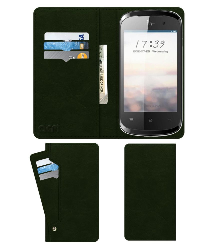 Fly F350 Flip Cover by ACM - Green Wallet Case,Can store 6 Card & Cash,Teal Green