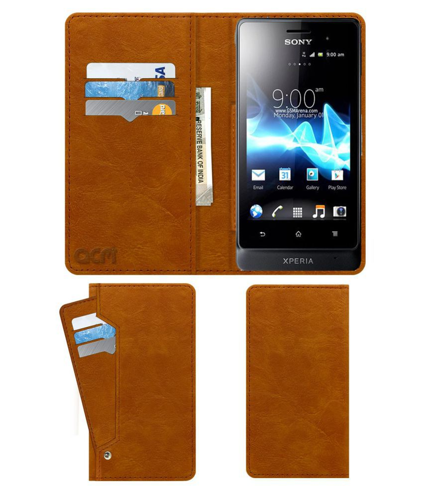 Sony Xperia Go Flip Cover by ACM - Golden Wallet Case,Can store 6 Card & Cash,Classic Golden