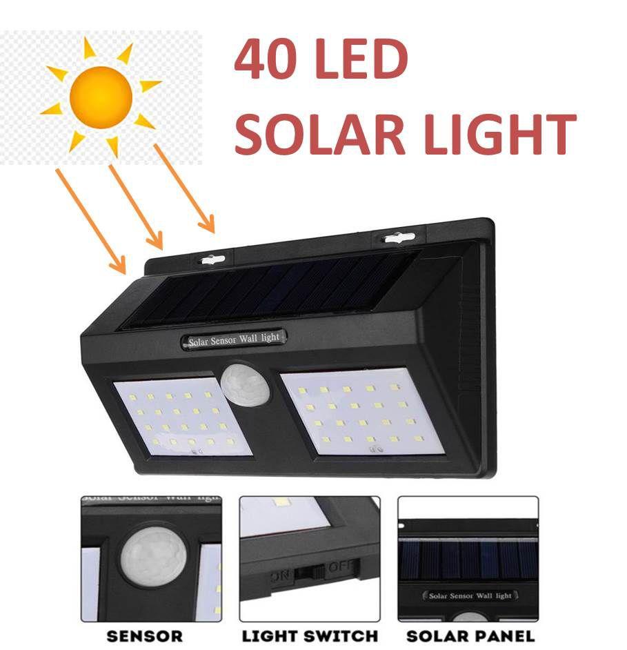 Bentag 6.5W 40LED (Large) waterproof motion sensor Solar Outdoor Wall Light , solar panel light- Pack of 1