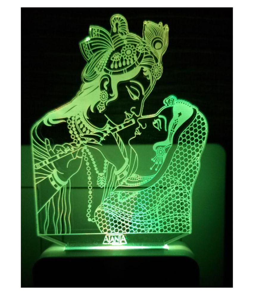 Ajanta Lord Radha Krishna Bhagwan Code 2095 3D ( PEN STAND FREE ) Night  Lamp Multi - Pack of 1