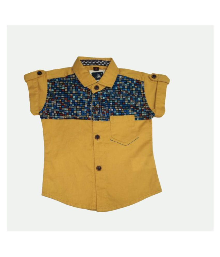 Kids printed yellow cotton half sleeve shirt-4469-a