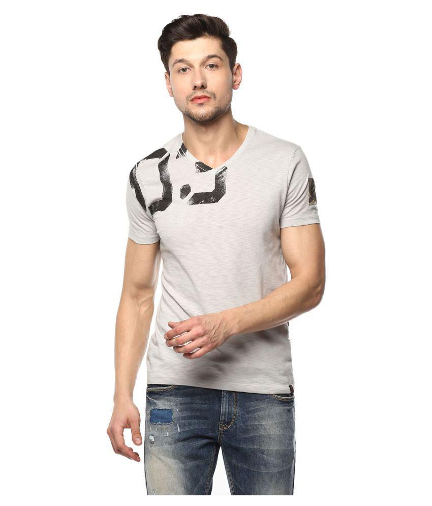 Spykar Grey Half Sleeve T-Shirt