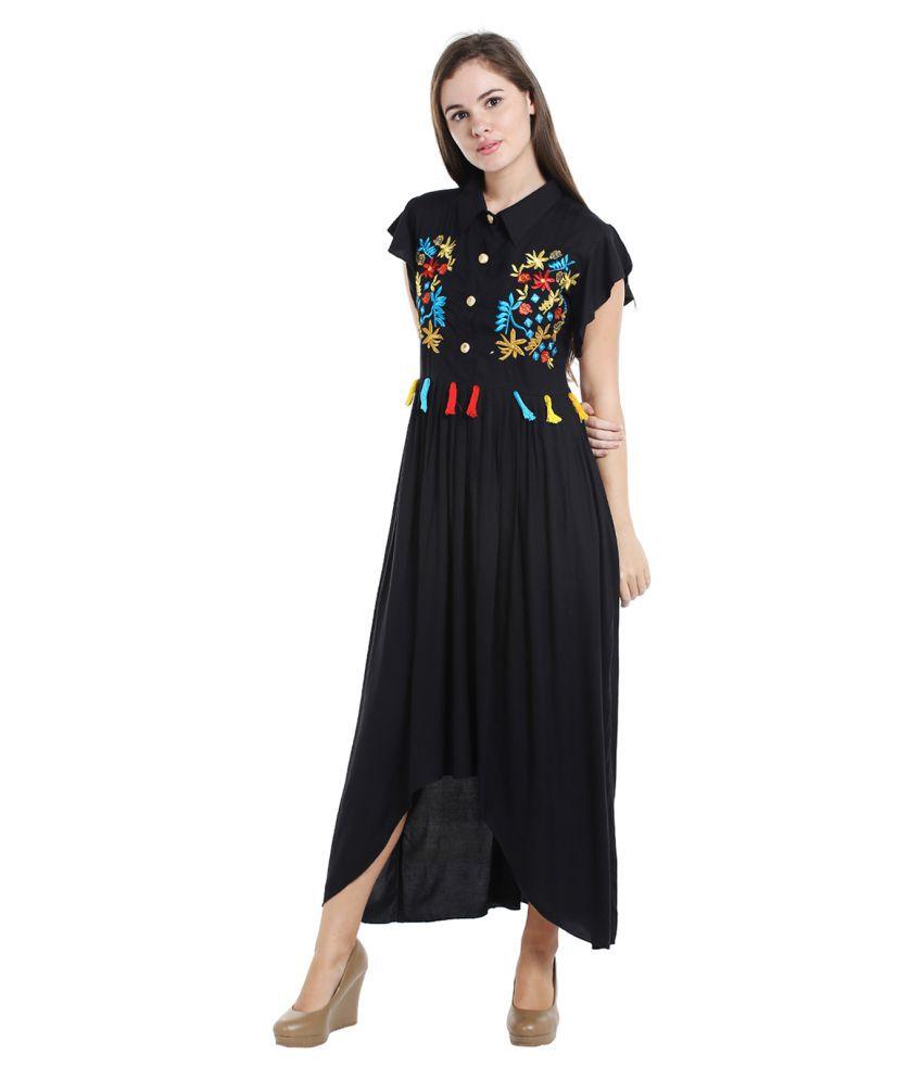 3c7e10e169 Ishin Rayon Black A- line Dress