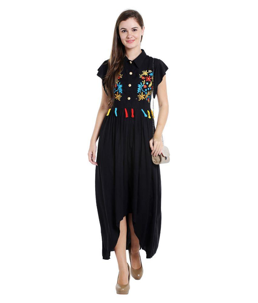 Ishin Rayon Black A- line Dress
