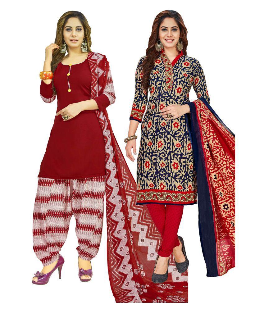 Salwar Studio Beige and Black Synthetic Dress Material