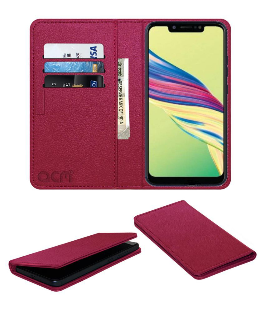 Tecno Camon i Air 2 Plus Flip Cover by ACM - Pink Wallet Case,Can store 3 Card/Cash