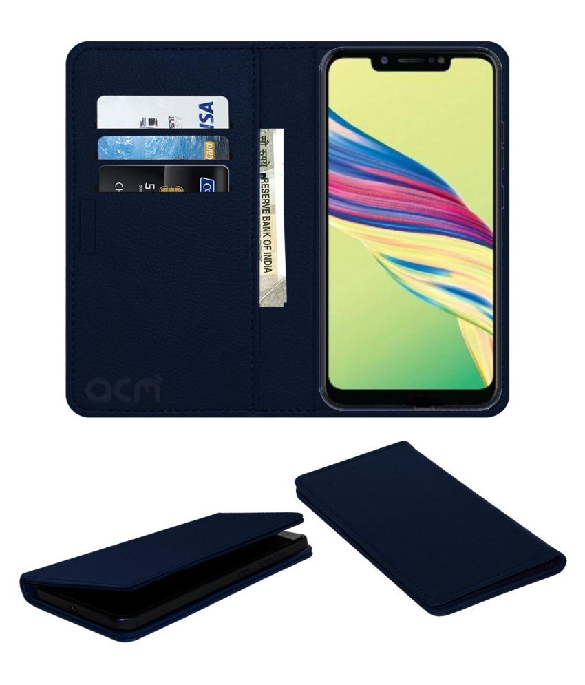 Tecno Camon i Air 2 Plus Flip Cover by ACM - Blue Wallet Case,Can store 3 Card/Cash