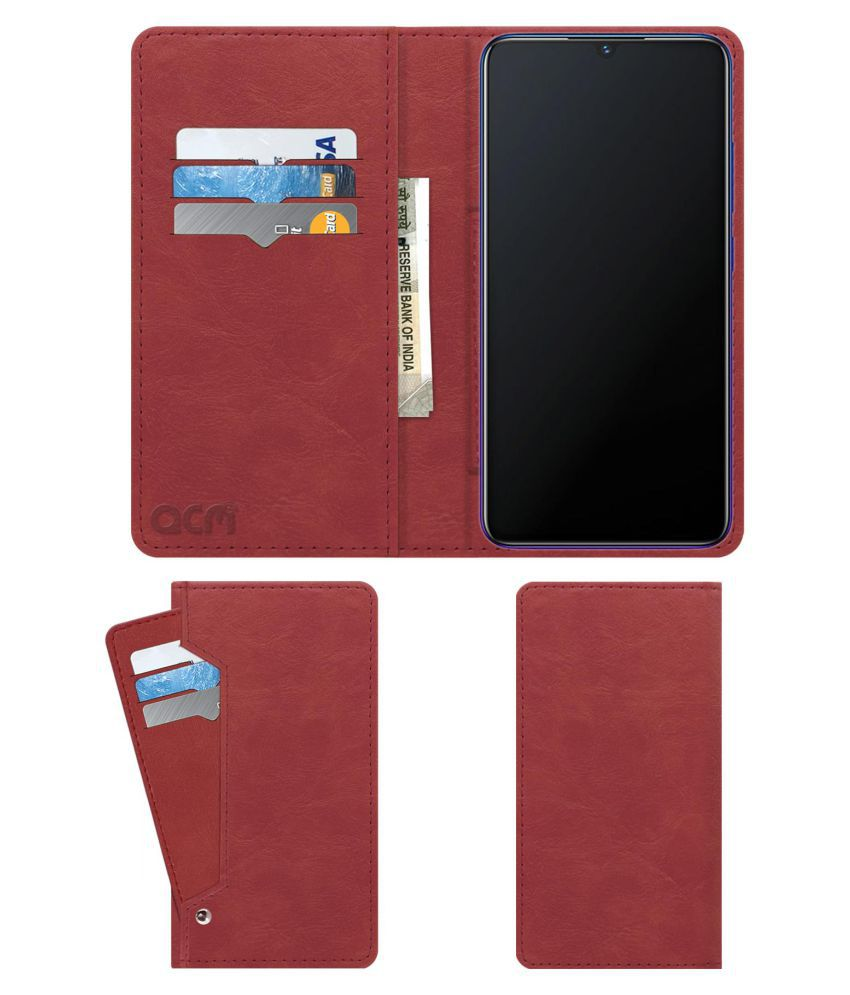 Vivo V11 Flip Cover by ACM - Pink Wallet Case,Can store 6 Card & Cash,Peach Pink