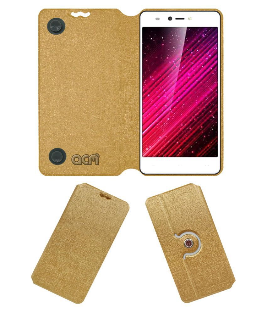 Yuho H1 Flip Cover by ACM - Golden Dual Side Stand