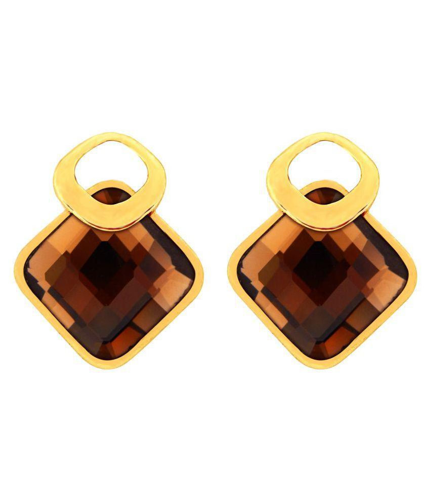 Fresh Vibes Rhombus Party Wear Fancy Brown Stud Earrings for Women - Stylish & Trendy Brown Crystal Golden Big Studs for Girls