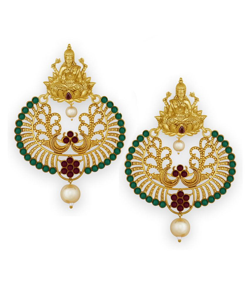Spargz Peacock Laxmi Gold Plated Synthetic Stone Chandbali Earring For Women