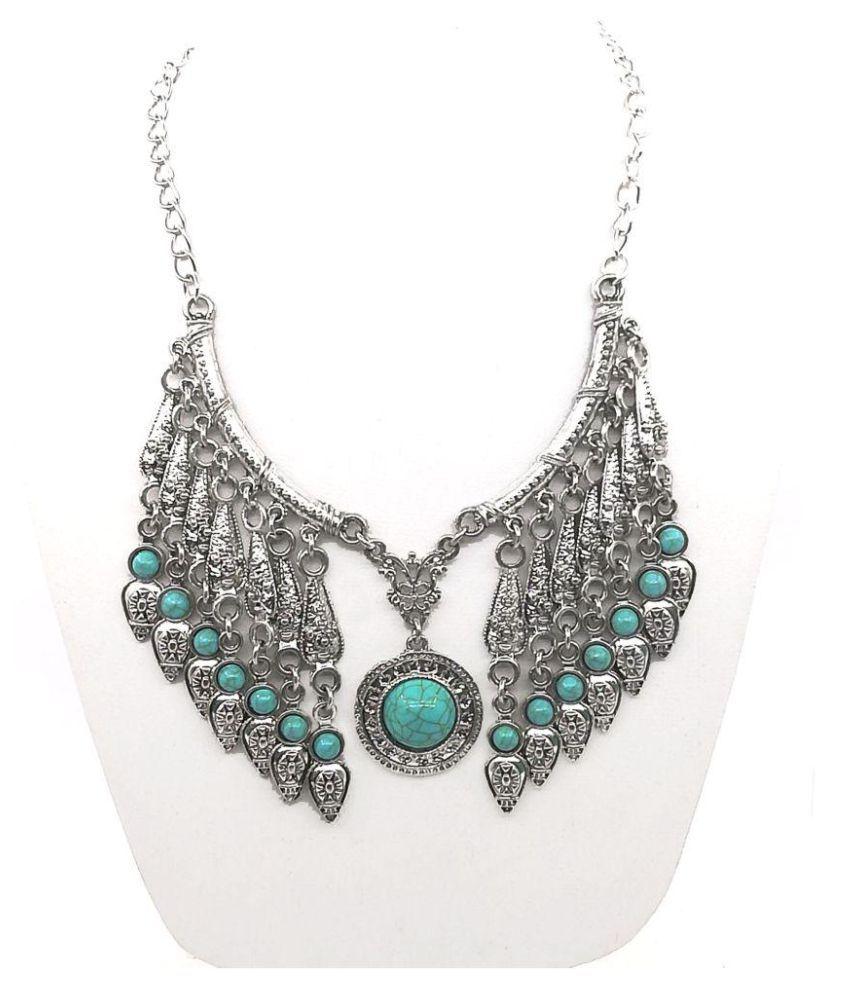 reyaz collections German Silver Silver Long Haram Designer Oxidised Necklace
