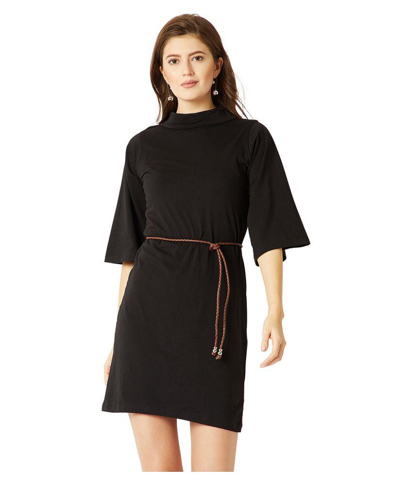 Miss Chase Cotton Black Shift Dress