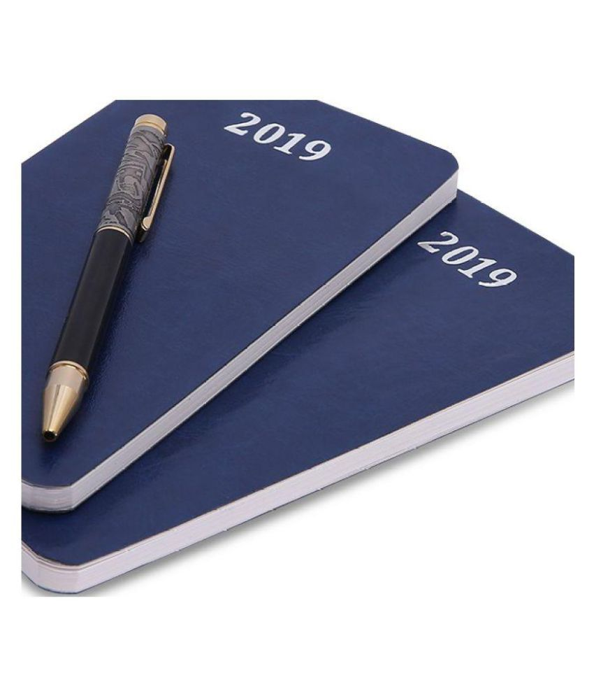 COI Set of 2 Blue Unique Gift For Man Planner And Organizer 2019 Diary With Designer Pen.