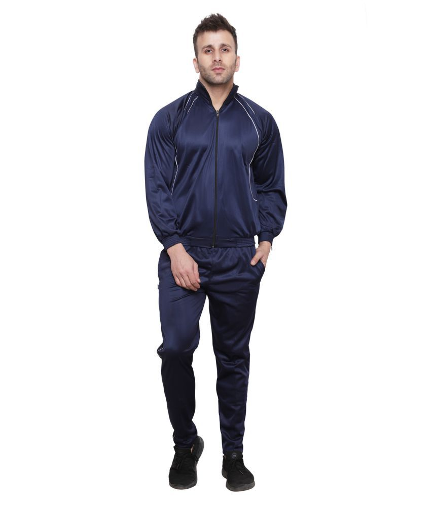 ishu Navy Blue Micro Polyester Track-Suit