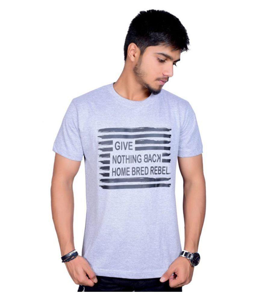 NazraFashion Grey Half Sleeve T-Shirt Pack of 1