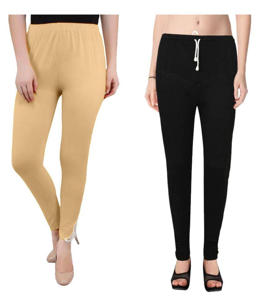 Janvi Designer Cotton Lycra Pack of 2 Leggings
