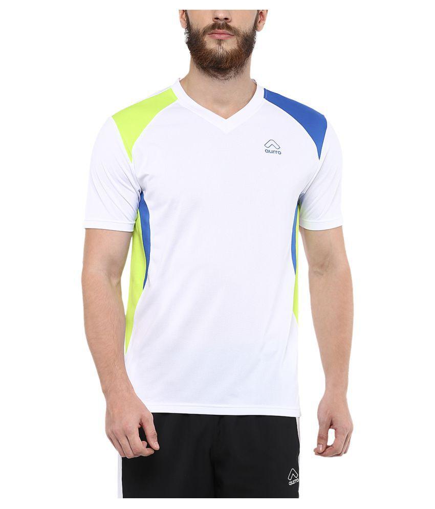 Aurro Sports White Half Sleeve T-Shirt Pack of 1