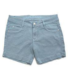 v oll Denim Hot Pants - Blue