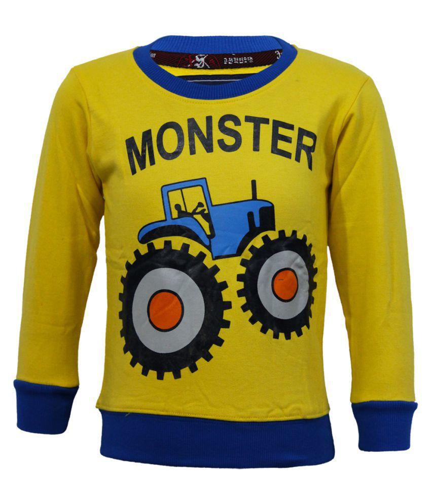 Kothari Boys Full Sleeves Printed  Yellow Color Fleece Regular Fit Boys Sweatshirt