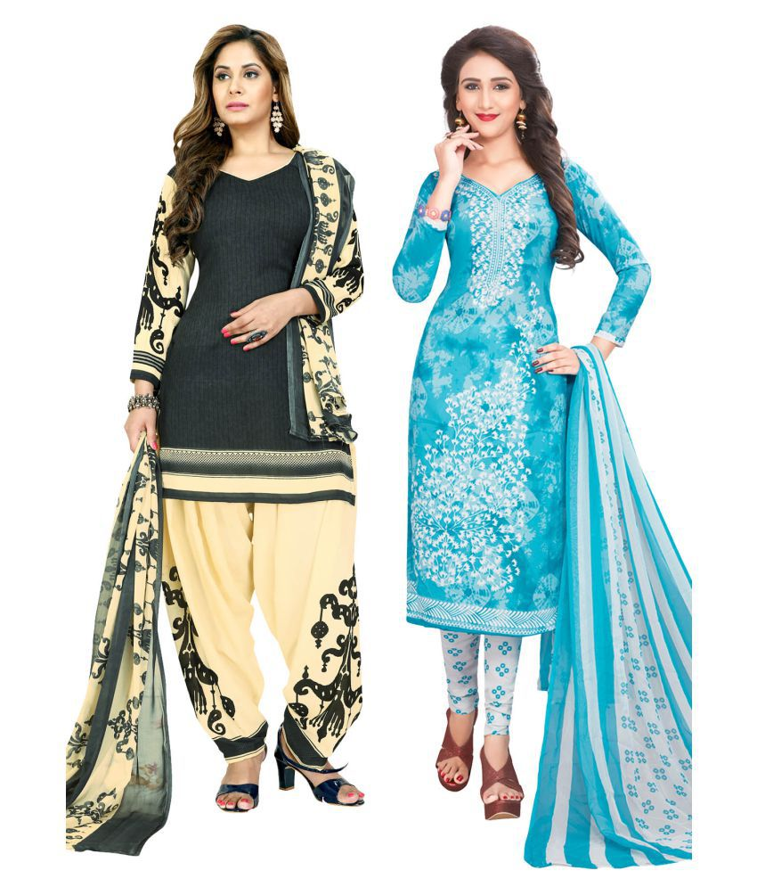 Salwar Studio Beige and Grey Synthetic Dress Material