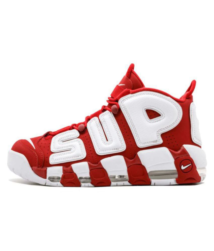 finest selection cfc54 594ea Nike Air More Uptempo X Supreme Red Basketball Shoes ...