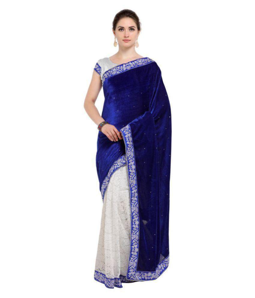 AS fashion Blue and Grey Velvet Saree
