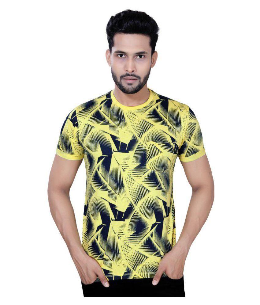 Checks&Squires Yellow Half Sleeve T-Shirt
