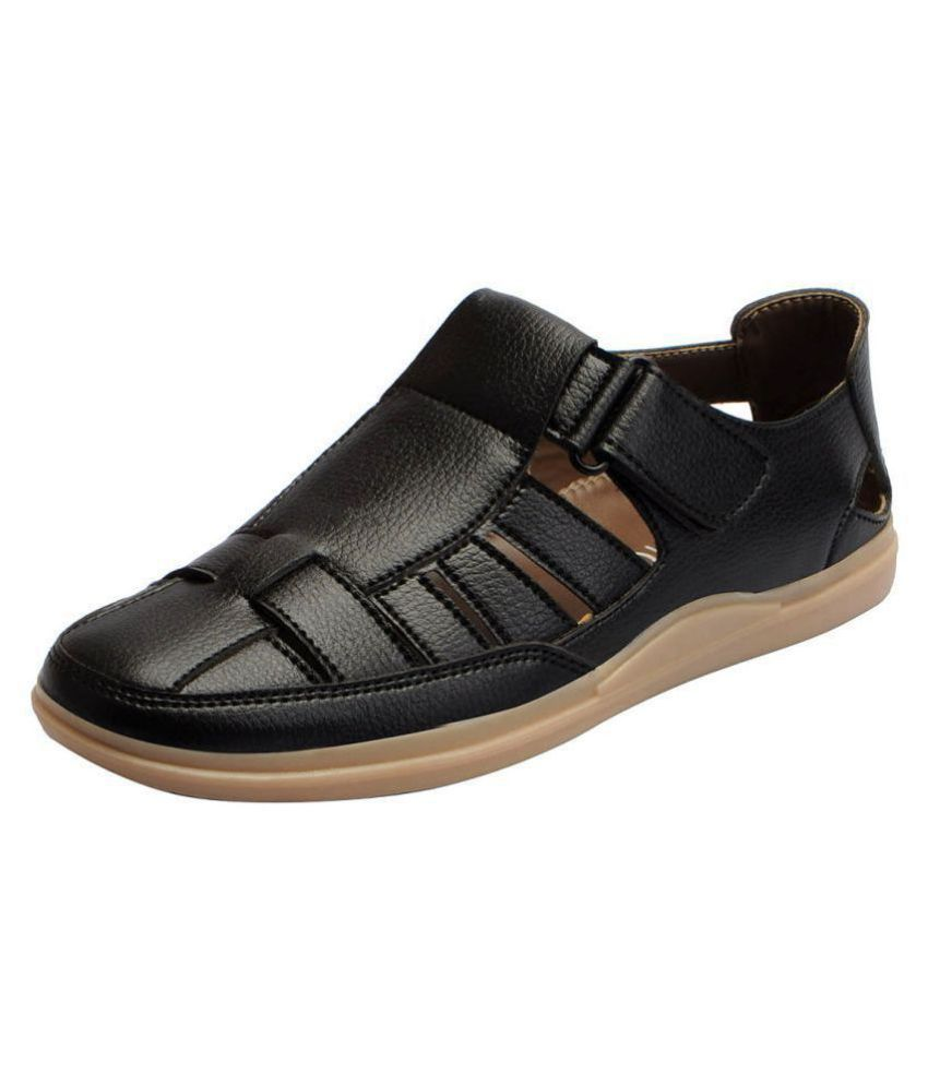 6d78fa6ba32e Fausto Black Synthetic Leather Sandals Price in India- Buy Fausto Black  Synthetic Leather Sandals Online at Snapdeal