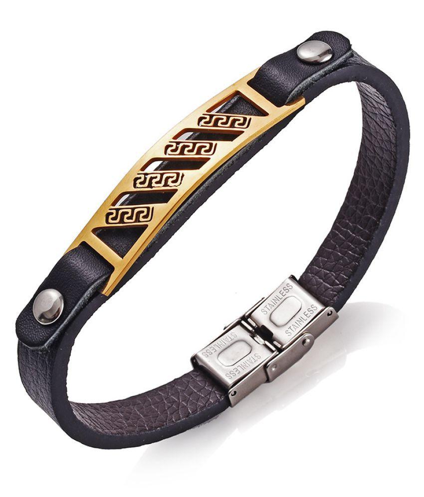 13003a7935396 YOLO 1 Set Black Leather Bracelet Men's Bead Retro Punk Casual ...