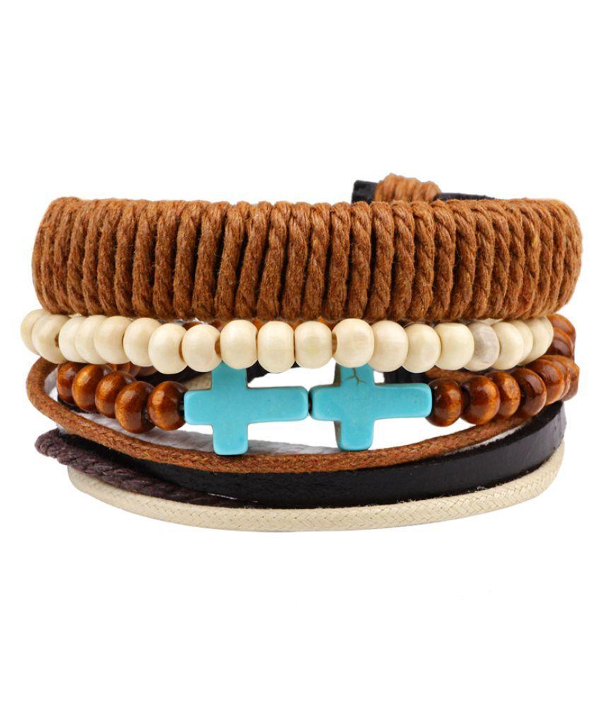 YOLO 1 Set Orange Leather Bracelet Men's Bead Retro Punk Casual Jewelry Accessories