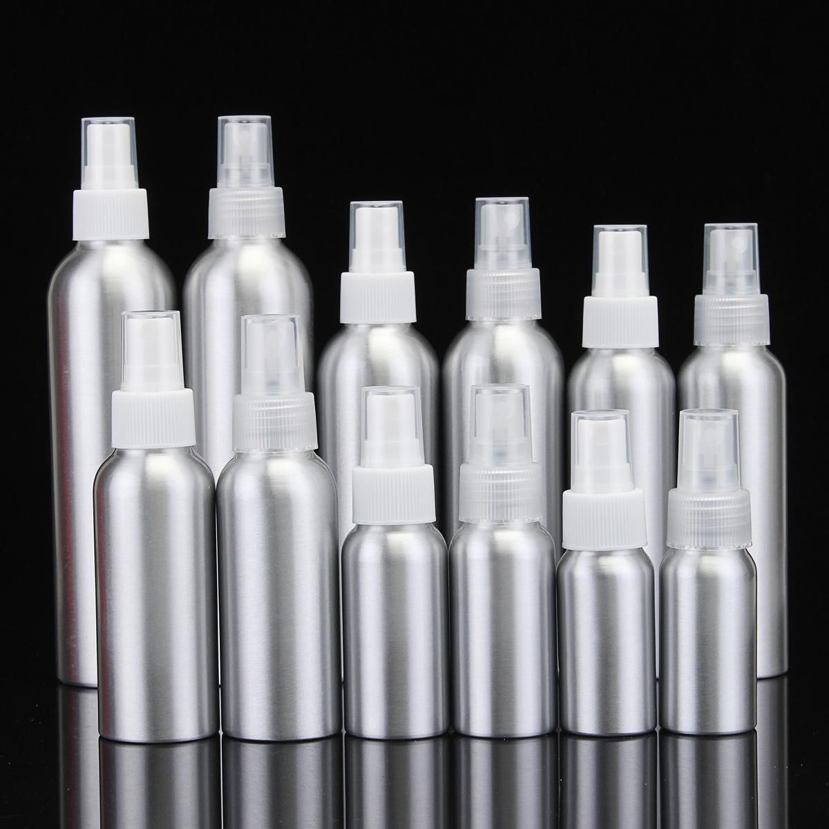 Empty Aluminum Metal Bottle With Transparent/White Fine Mist Spray
