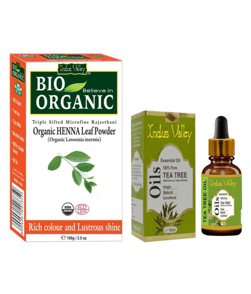 Indus Valley Bio Organic Herbal Henna Powder with Tea Tree Oil For Anti Dandruff Semi Permanent Hair Color Henna Natural 115 gm Pack of 2