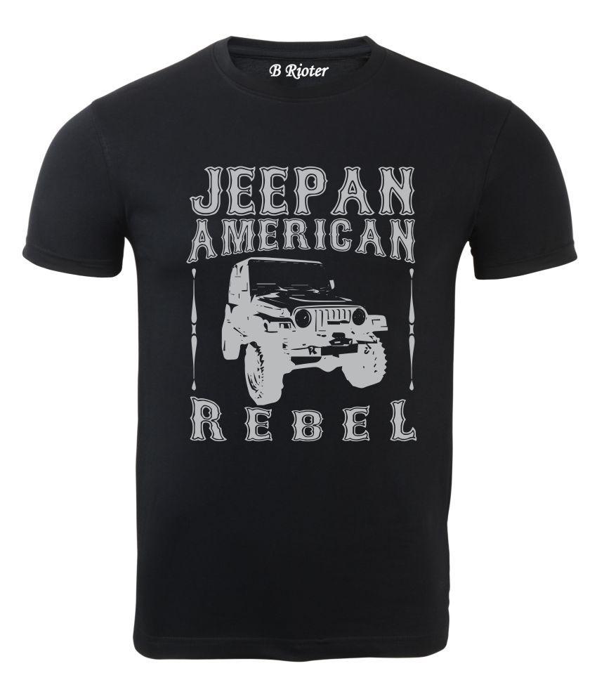 B RIOTER Black Half Sleeve T-Shirt