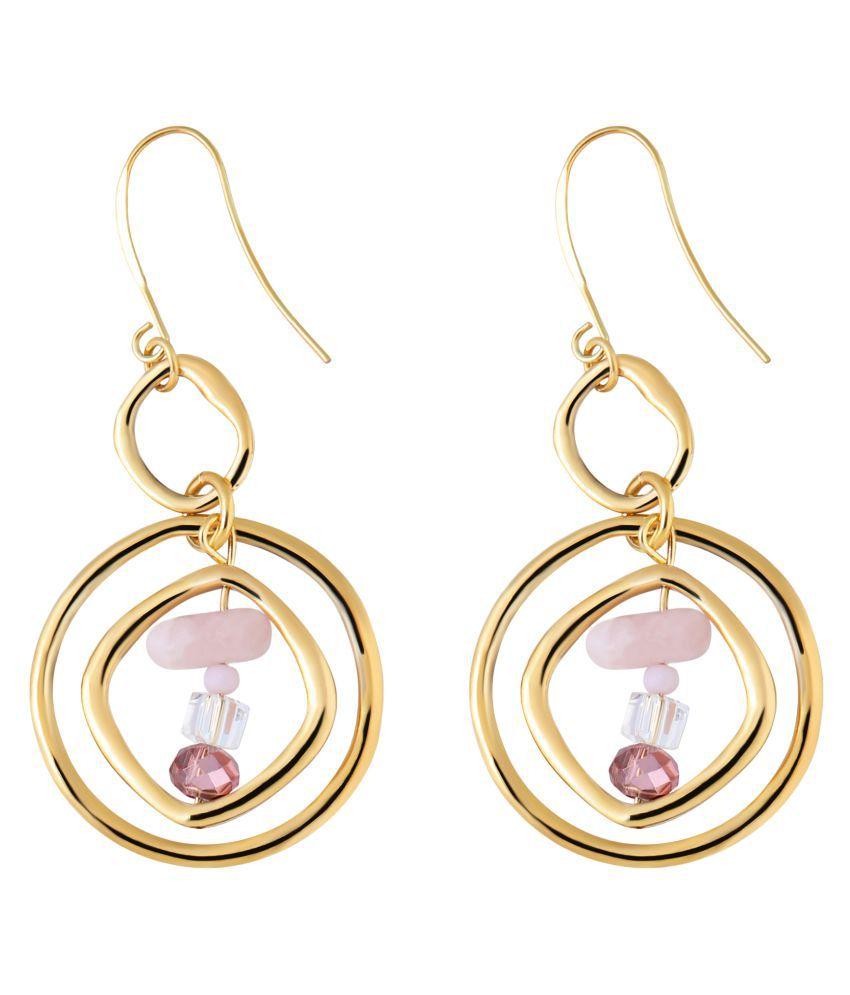 Gempro Pink Modish Rose Quartz Gold Tone Earring
