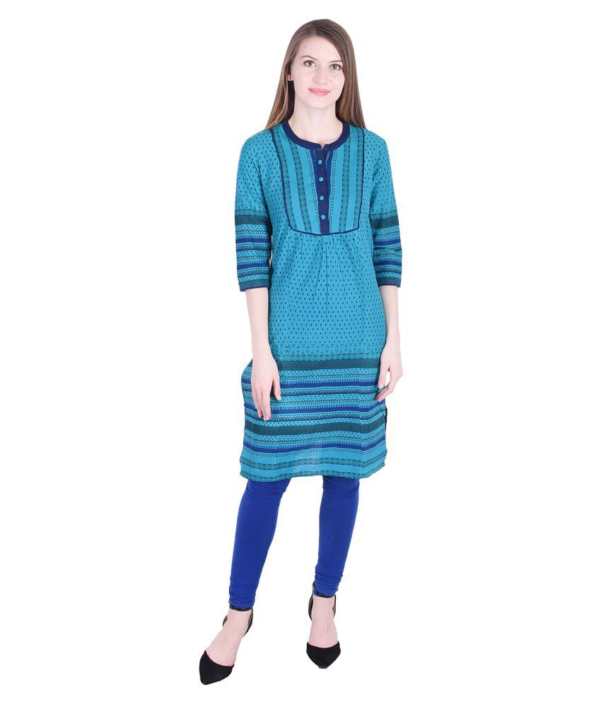 NASCENCY Turquoise Cotton Straight Kurti