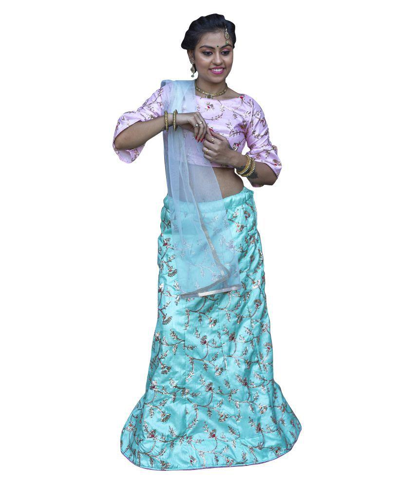 2c9b9a63090 V-STYLE4U Blue and Grey Banarasi Silk A-line Semi Stitched Lehenga