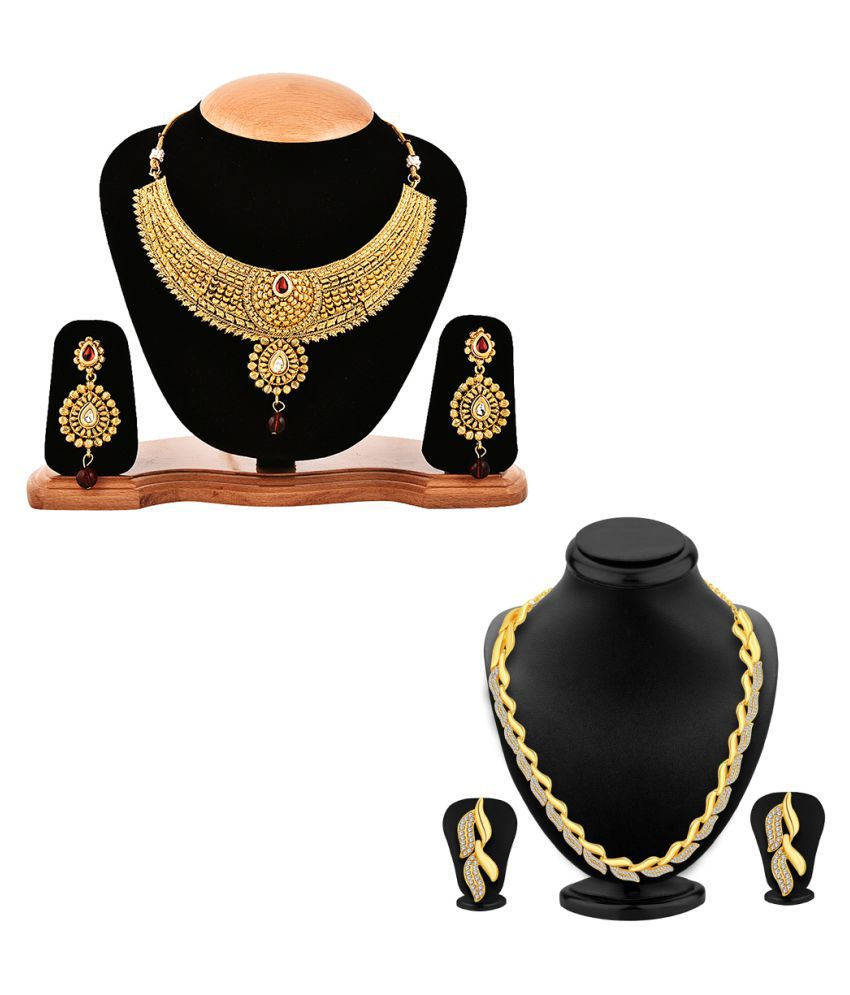 8b9a622e4 Zeneme Alloy Golden Contemporary Designer Gold Plated Necklace set Combo - Buy  Zeneme Alloy Golden Contemporary Designer Gold Plated Necklace set Combo ...