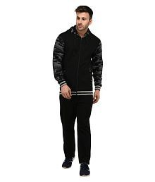 Vivid Bharti Black Fleece Hooded Men's Tracksuit