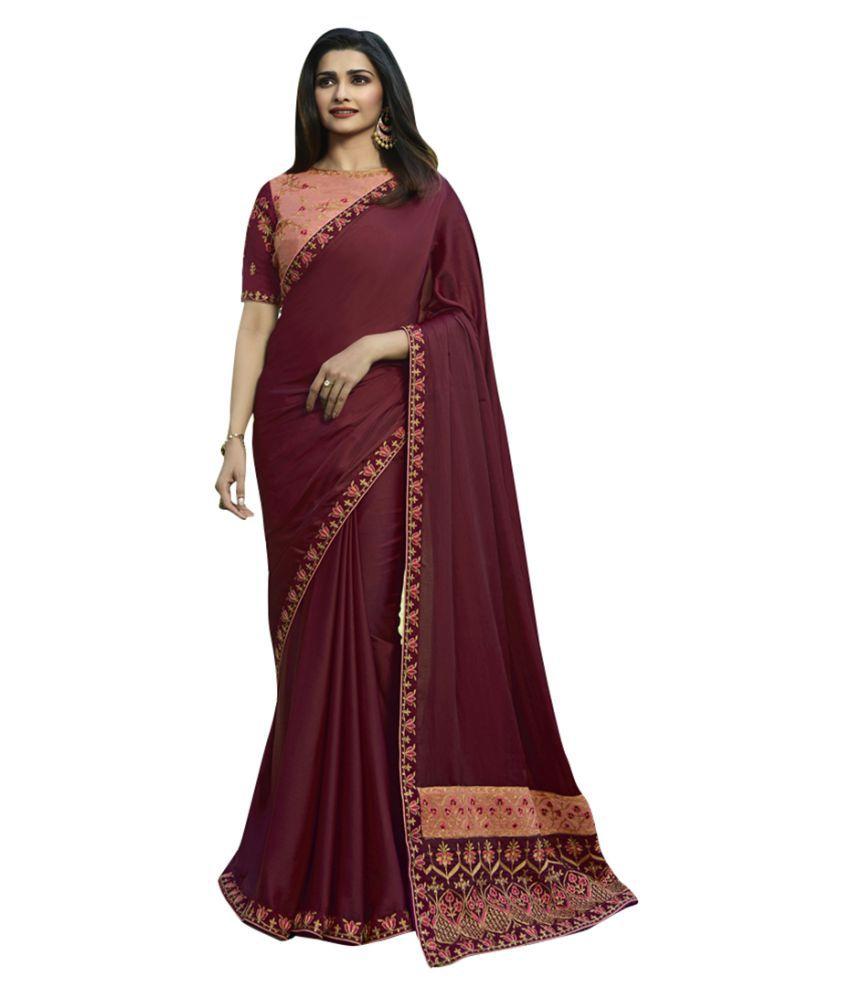 Tashvi Fashion Maroon Silk Saree